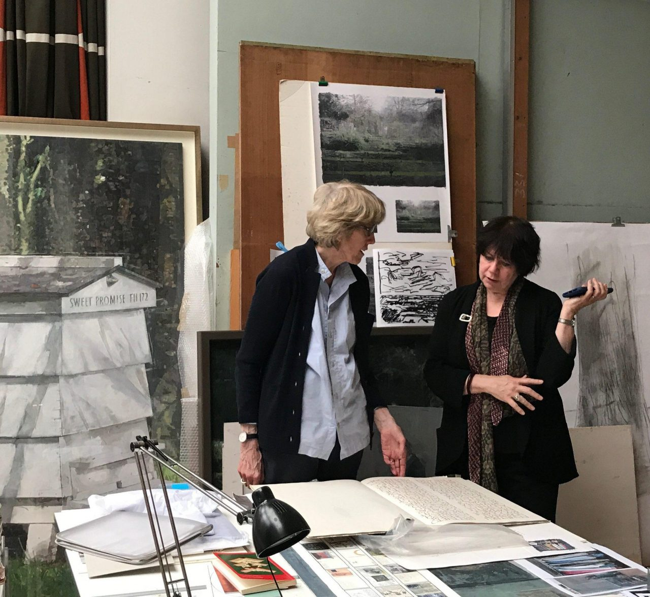 Eileen Hogan (left) discussing her work with Elisabeth Fairman (right) in the artist's London studio (Credit: Sarah Davidowitz)