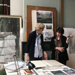 Eileen Hogan (left) discussing her work with Elisabeth Fairman (right) in the artist's London studio (Credit: Sarah Davidowitz)